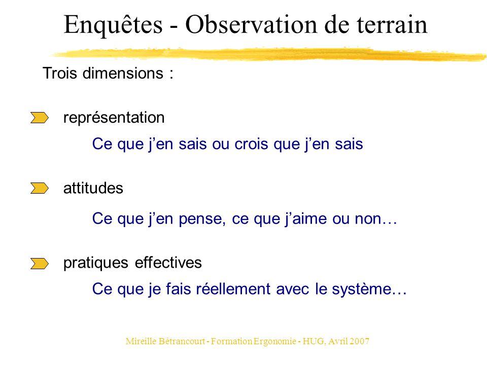 Mireille Bétrancourt - Formation Ergonomie - HUG, Avril 2007 Enquêtes - Observation de terrain représentation Ce que jen sais ou crois que jen sais at