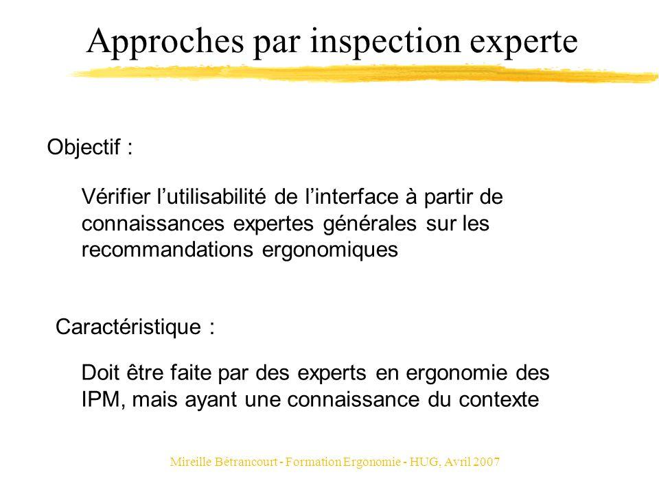Mireille Bétrancourt - Formation Ergonomie - HUG, Avril 2007 Approches par inspection experte Vérifier lutilisabilité de linterface à partir de connai