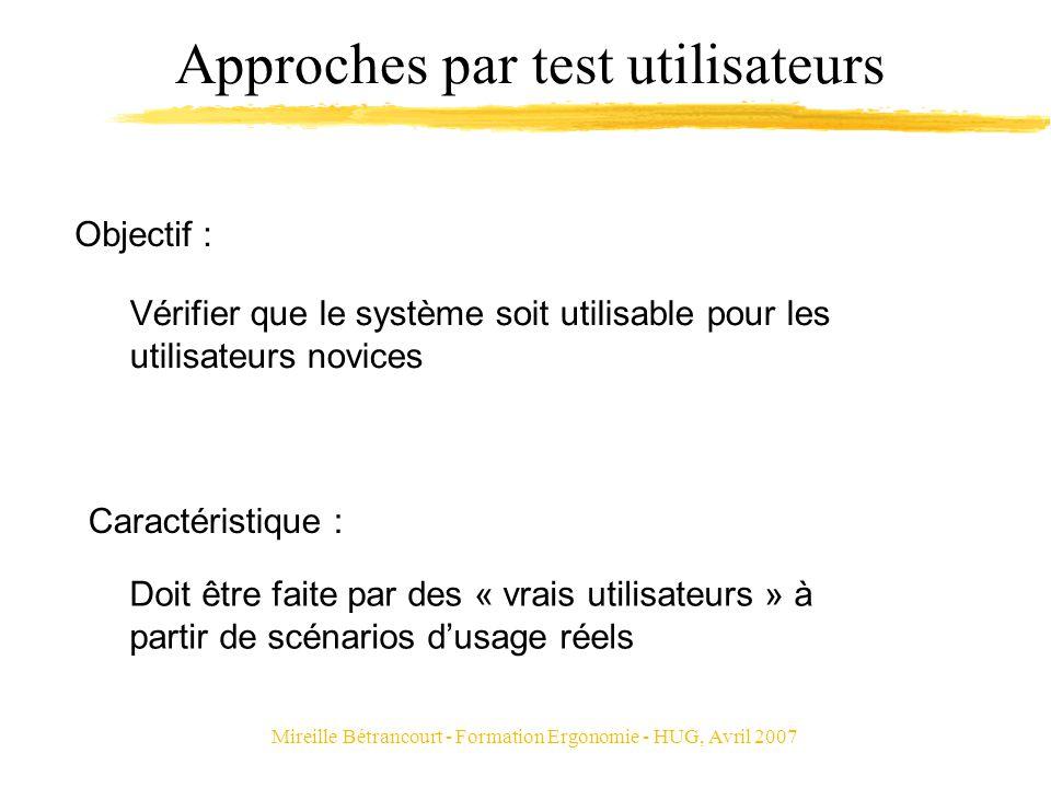 Mireille Bétrancourt - Formation Ergonomie - HUG, Avril 2007 Approches par test utilisateurs Vérifier que le système soit utilisable pour les utilisat