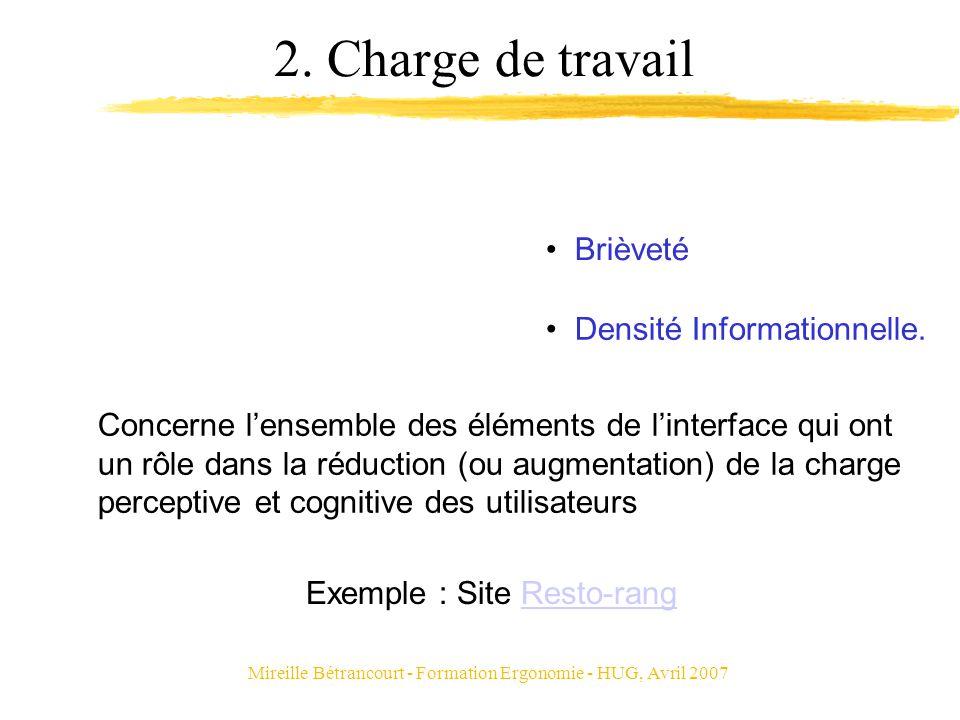 Mireille Bétrancourt - Formation Ergonomie - HUG, Avril 2007 2. Charge de travail Concerne lensemble des éléments de linterface qui ont un rôle dans l