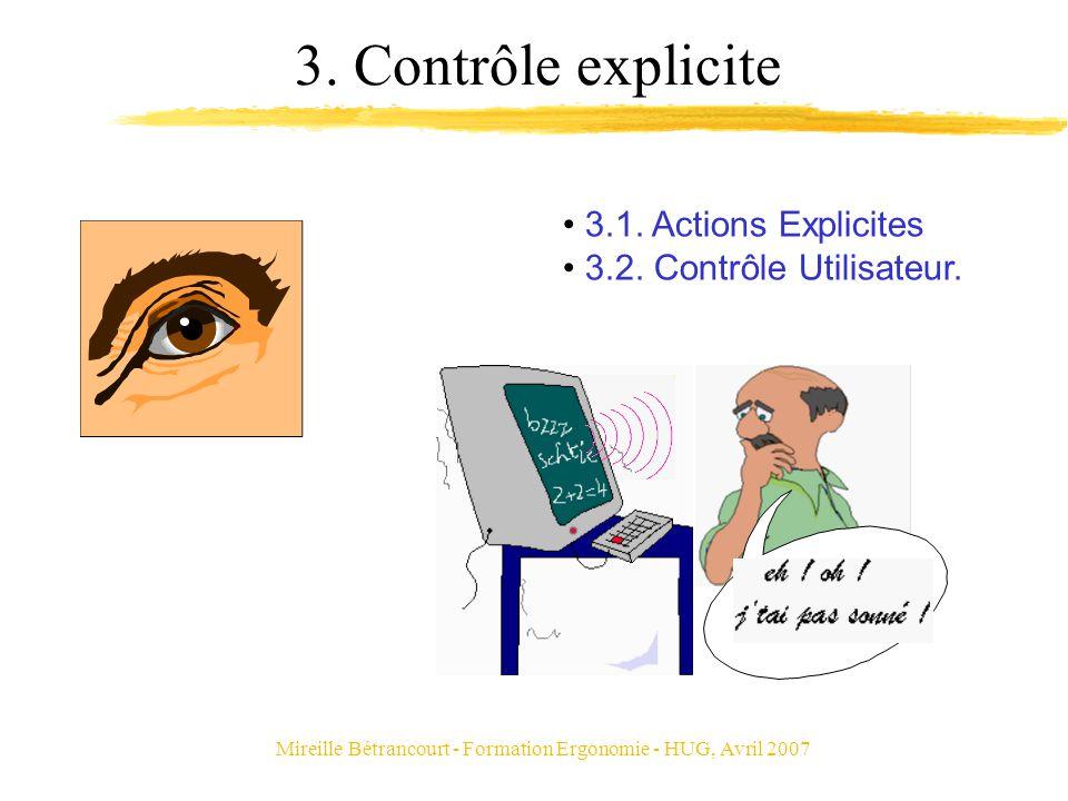 Mireille Bétrancourt - Formation Ergonomie - HUG, Avril 2007 3. Contrôle explicite 3.1. Actions Explicites 3.2. Contrôle Utilisateur.