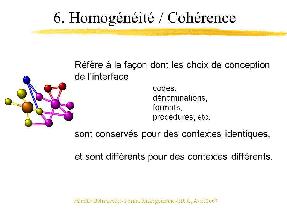Mireille Bétrancourt - Formation Ergonomie - HUG, Avril 2007 6. Homogénéité / Cohérence Réfère à la façon dont les choix de conception de linterface s