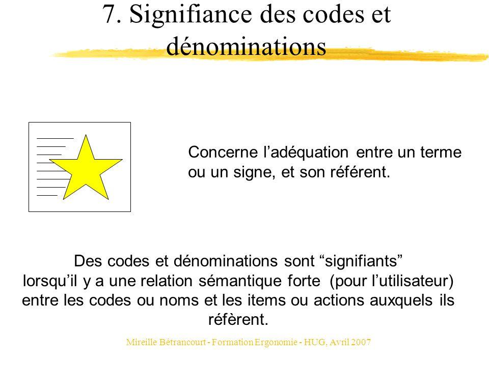 Mireille Bétrancourt - Formation Ergonomie - HUG, Avril 2007 7. Signifiance des codes et dénominations Concerne ladéquation entre un terme ou un signe