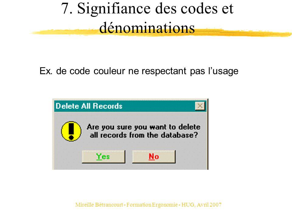 Mireille Bétrancourt - Formation Ergonomie - HUG, Avril 2007 7. Signifiance des codes et dénominations Ex. de code couleur ne respectant pas lusage