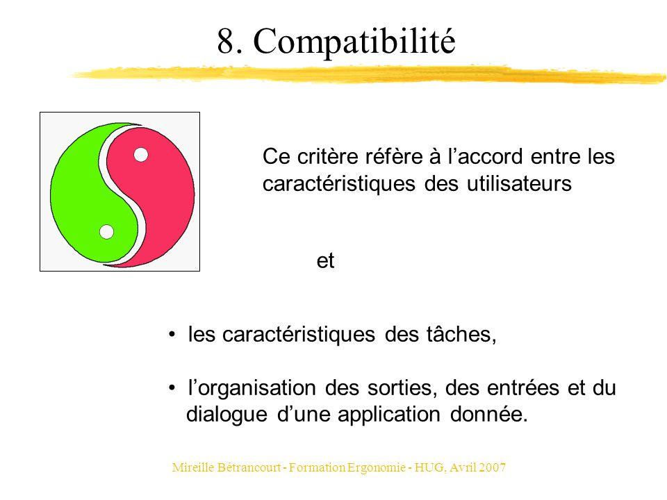 Mireille Bétrancourt - Formation Ergonomie - HUG, Avril 2007 8. Compatibilité Ce critère réfère à laccord entre les caractéristiques des utilisateurs