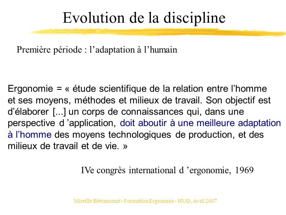Mireille Bétrancourt - Formation Ergonomie - HUG, Avril 2007 Evolution de la discipline Ergonomie = « étude scientifique de la relation entre lhomme e