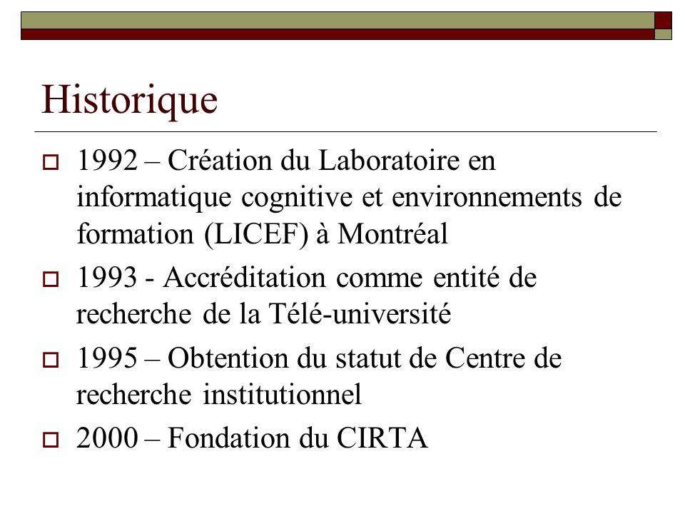 Historique 1992 – Création du Laboratoire en informatique cognitive et environnements de formation (LICEF) à Montréal 1993 - Accréditation comme entité de recherche de la Télé-université 1995 – Obtention du statut de Centre de recherche institutionnel 2000 – Fondation du CIRTA