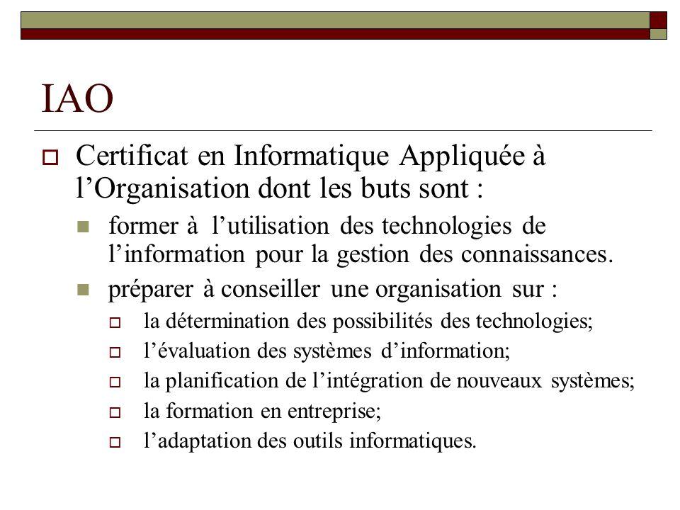 IAO Certificat en Informatique Appliquée à lOrganisation dont les buts sont : former à lutilisation des technologies de linformation pour la gestion des connaissances.