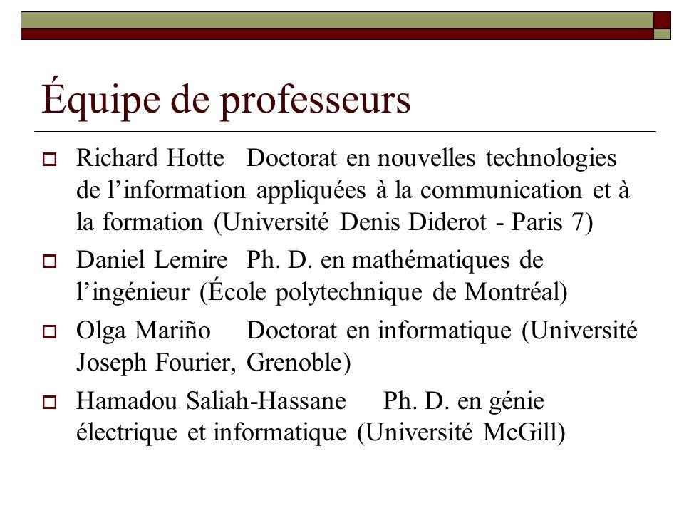 Équipe de professeurs Richard HotteDoctorat en nouvelles technologies de linformation appliquées à la communication et à la formation (Université Denis Diderot - Paris 7) Daniel LemirePh.