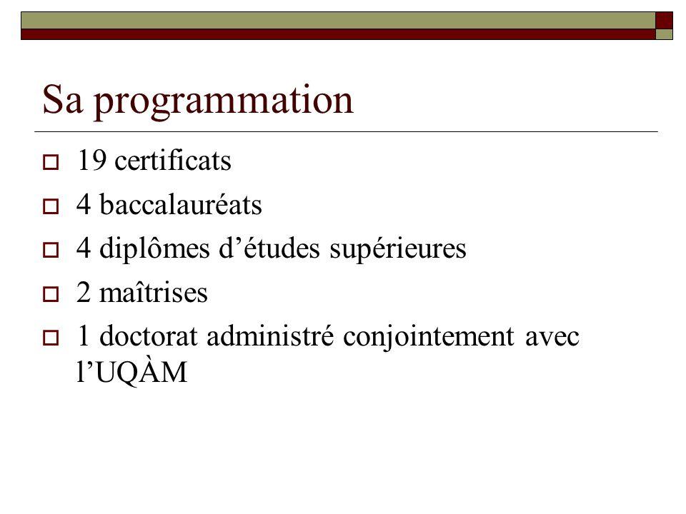 Sa programmation 19 certificats 4 baccalauréats 4 diplômes détudes supérieures 2 maîtrises 1 doctorat administré conjointement avec lUQÀM