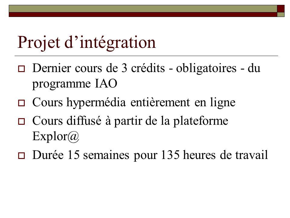 Projet dintégration Dernier cours de 3 crédits - obligatoires - du programme IAO Cours hypermédia entièrement en ligne Cours diffusé à partir de la plateforme Explor@ Durée 15 semaines pour 135 heures de travail