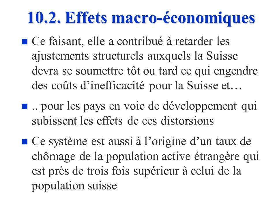 10.2. Effets macro-économiques n n En accordant des permis instables à une main- dœuvre peu qualifiée en période de croissance, la politique migratoir