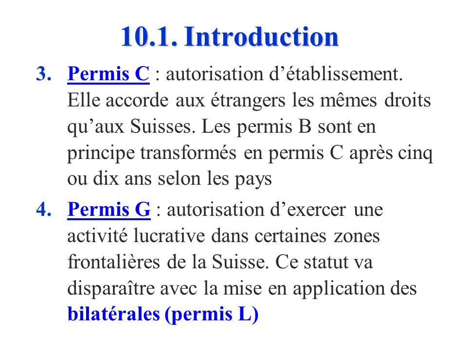 10.1. Introduction n n Les 4 principaux types de permis attribués à la main-dœuvre étrangère étaient, jusquà la signature des bilatérales : 1. 1.Permi