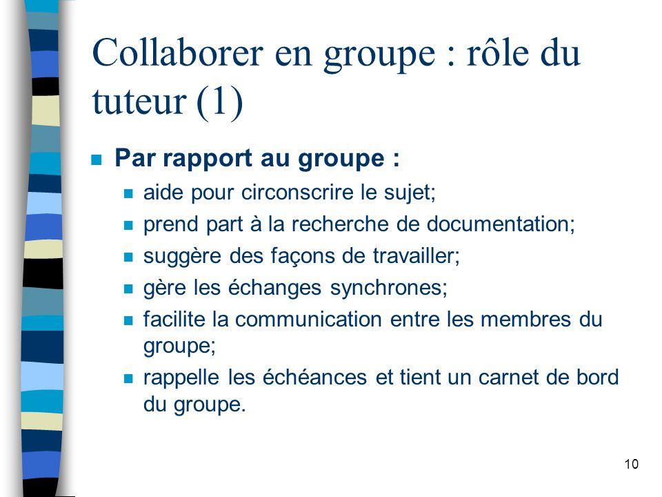 10 Collaborer en groupe : rôle du tuteur (1) n Par rapport au groupe : n aide pour circonscrire le sujet; n prend part à la recherche de documentation