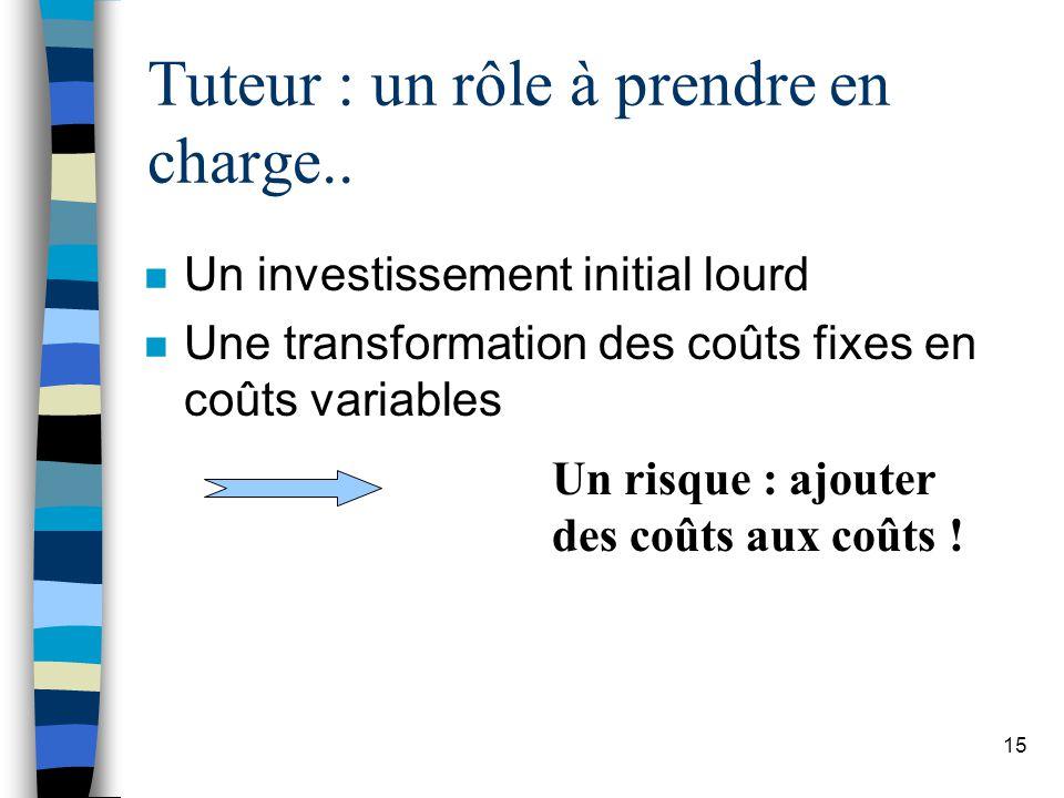 15 Tuteur : un rôle à prendre en charge.. n Un investissement initial lourd n Une transformation des coûts fixes en coûts variables Un risque : ajoute