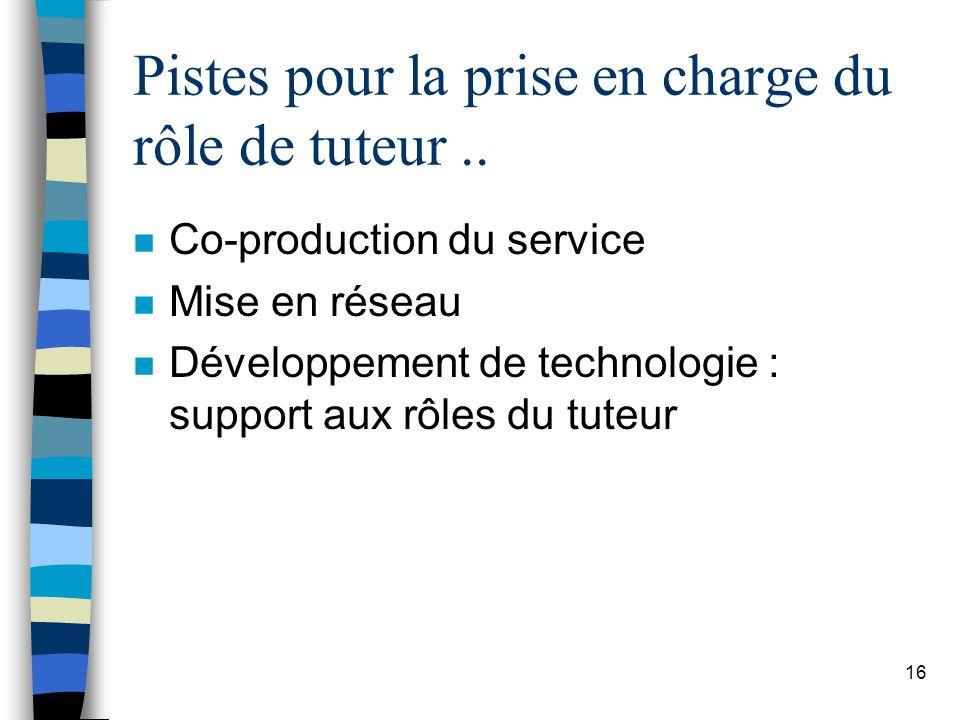 16 Pistes pour la prise en charge du rôle de tuteur.. n Co-production du service n Mise en réseau n Développement de technologie : support aux rôles d