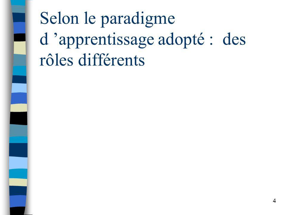4 Selon le paradigme d apprentissage adopté : des rôles différents