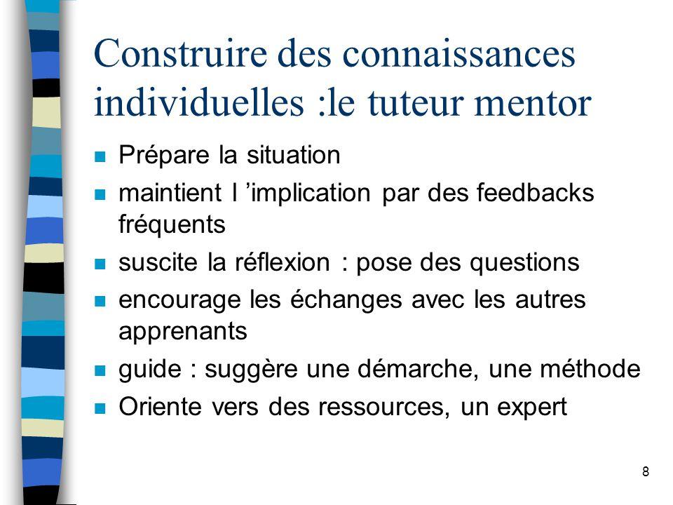 8 Construire des connaissances individuelles :le tuteur mentor n Prépare la situation n maintient l implication par des feedbacks fréquents n suscite