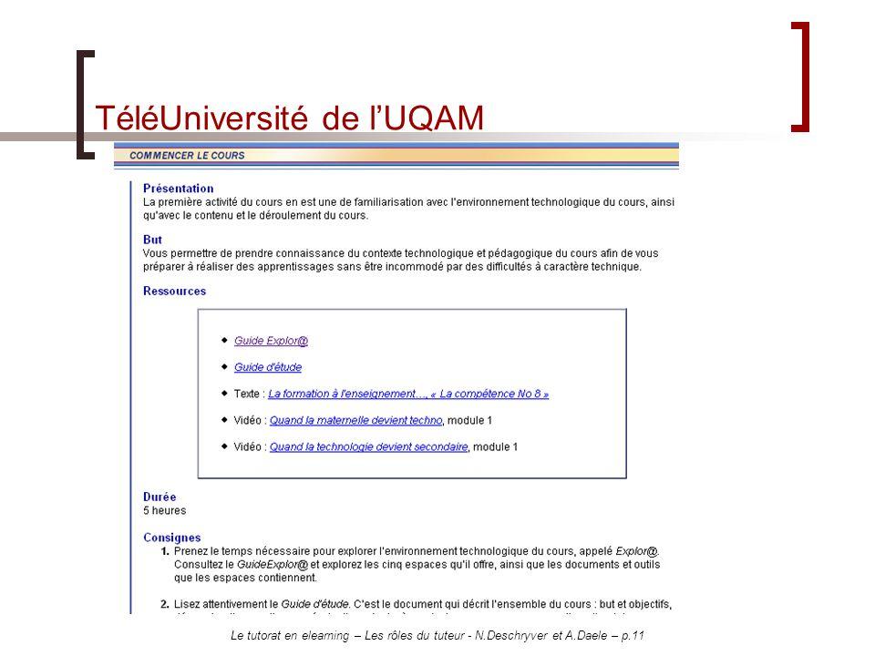 Le tutorat en elearning – Les rôles du tuteur - N.Deschryver et A.Daele – p.11 TéléUniversité de lUQAM