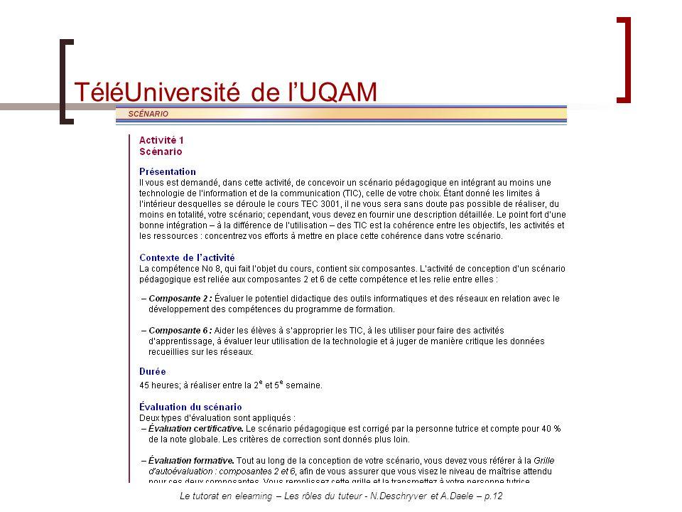 Le tutorat en elearning – Les rôles du tuteur - N.Deschryver et A.Daele – p.12 TéléUniversité de lUQAM