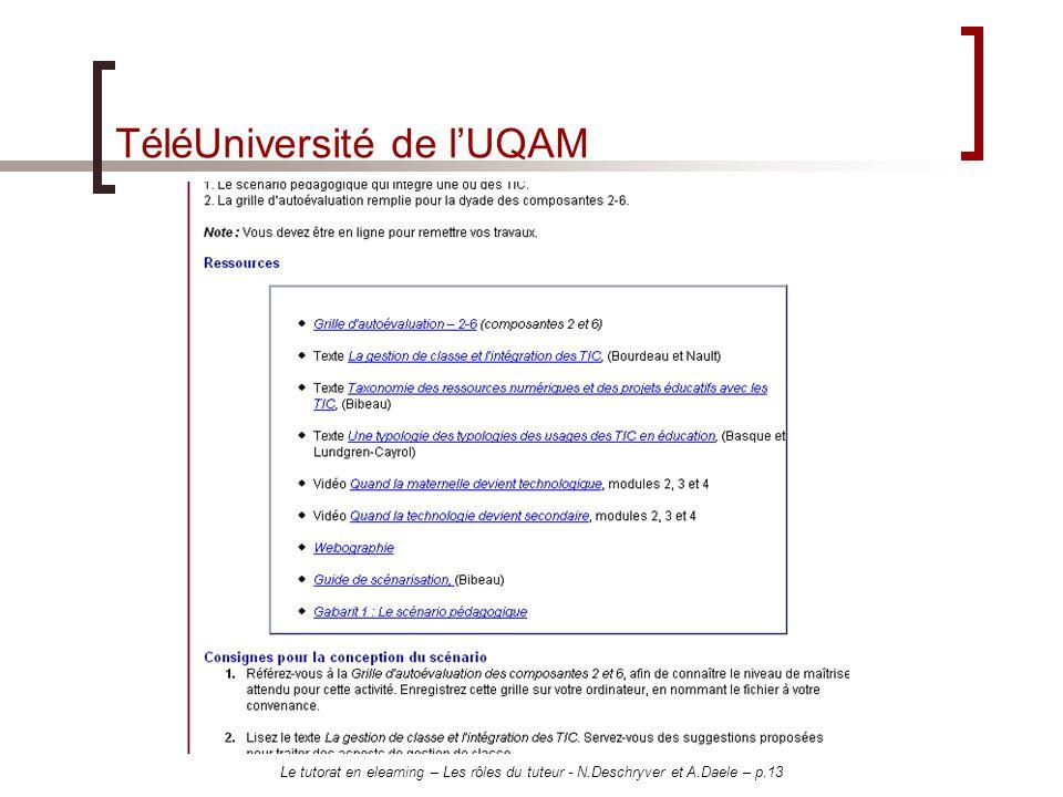 Le tutorat en elearning – Les rôles du tuteur - N.Deschryver et A.Daele – p.13 TéléUniversité de lUQAM