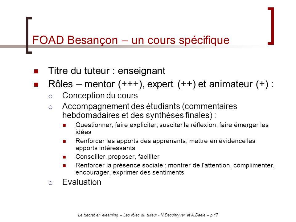 Le tutorat en elearning – Les rôles du tuteur - N.Deschryver et A.Daele – p.17 FOAD Besançon – un cours spécifique Titre du tuteur : enseignant Rôles