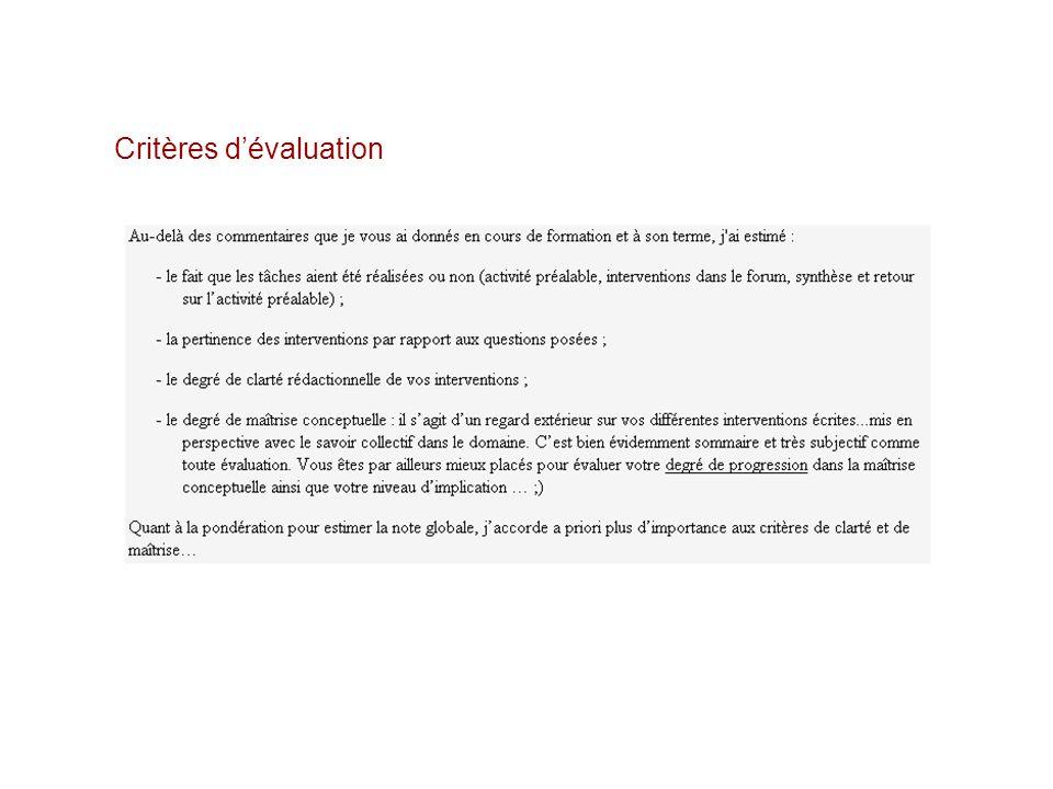 Critères dévaluation