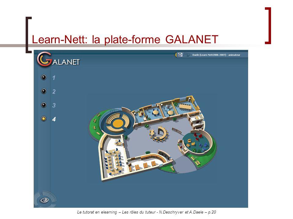 Le tutorat en elearning – Les rôles du tuteur - N.Deschryver et A.Daele – p.20 Learn-Nett: la plate-forme GALANET