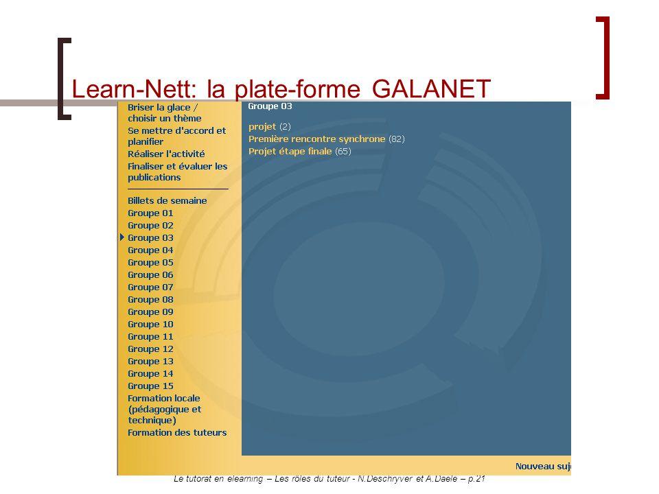 Le tutorat en elearning – Les rôles du tuteur - N.Deschryver et A.Daele – p.21 Learn-Nett: la plate-forme GALANET