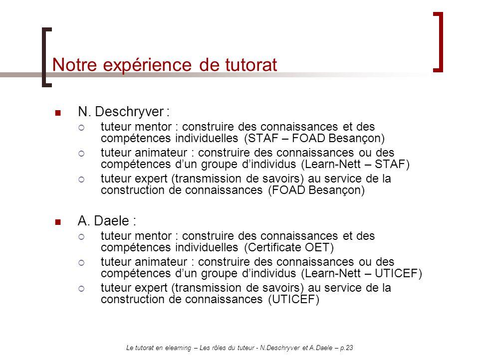 Le tutorat en elearning – Les rôles du tuteur - N.Deschryver et A.Daele – p.23 Notre expérience de tutorat N. Deschryver : tuteur mentor : construire
