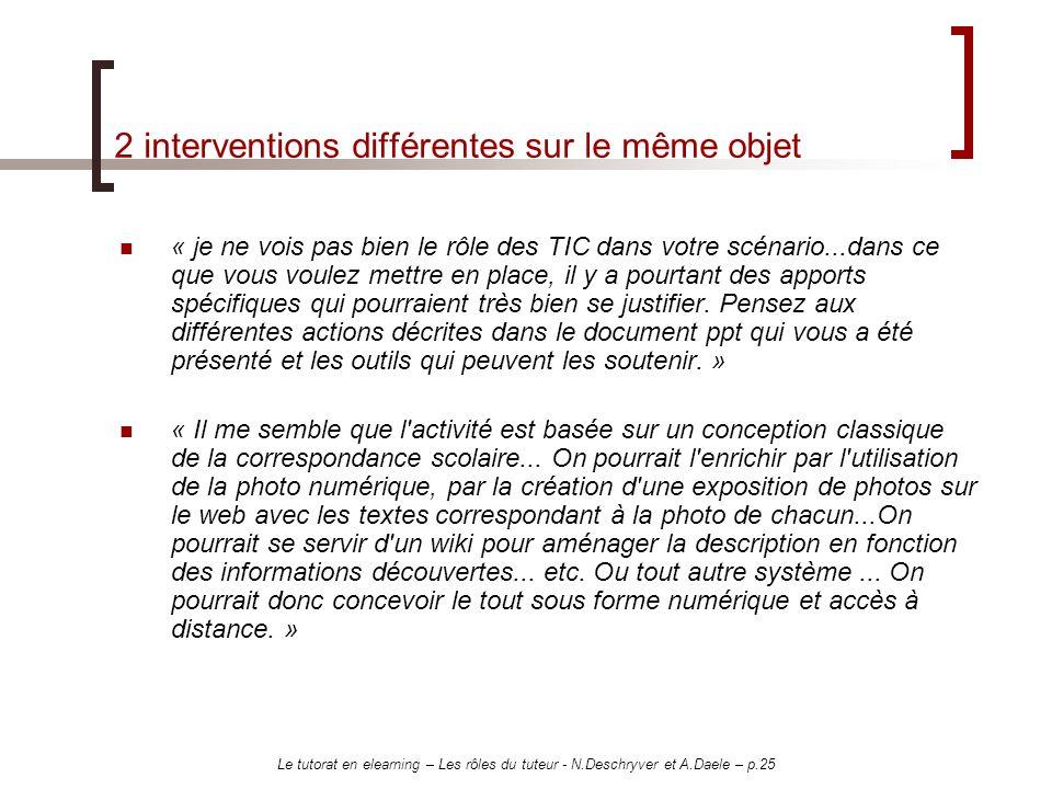 Le tutorat en elearning – Les rôles du tuteur - N.Deschryver et A.Daele – p.25 2 interventions différentes sur le même objet « je ne vois pas bien le