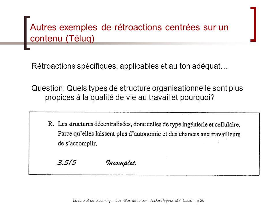 Le tutorat en elearning – Les rôles du tuteur - N.Deschryver et A.Daele – p.26 Autres exemples de rétroactions centrées sur un contenu (Téluq) Rétroac