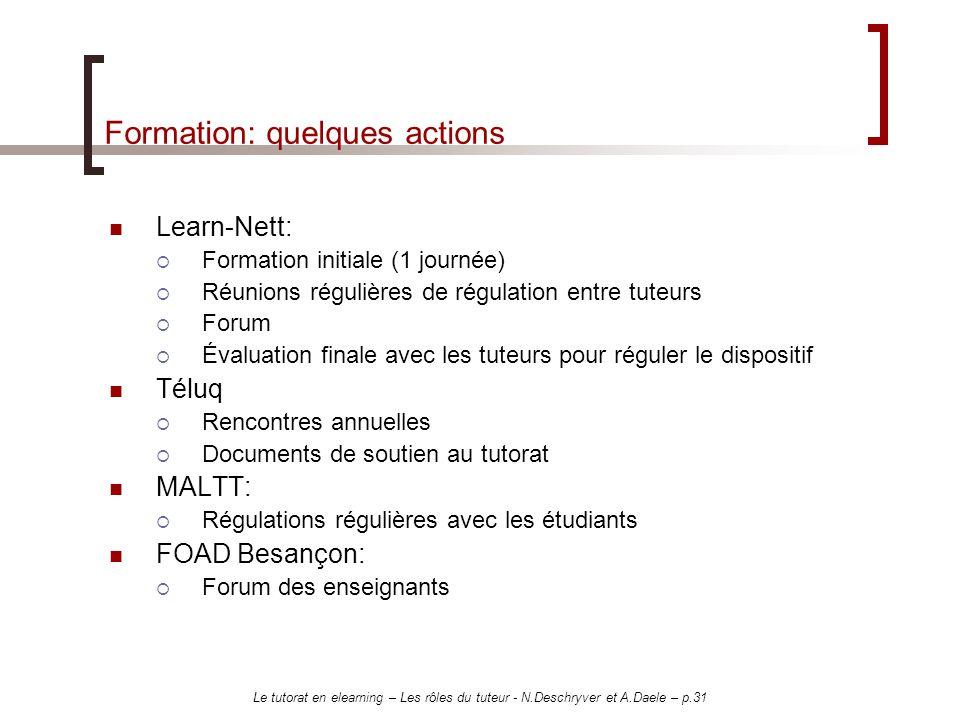 Le tutorat en elearning – Les rôles du tuteur - N.Deschryver et A.Daele – p.31 Formation: quelques actions Learn-Nett: Formation initiale (1 journée)