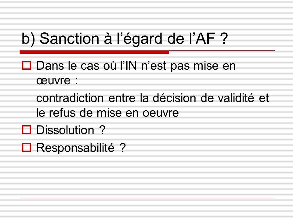 b) Sanction à légard de lAF .