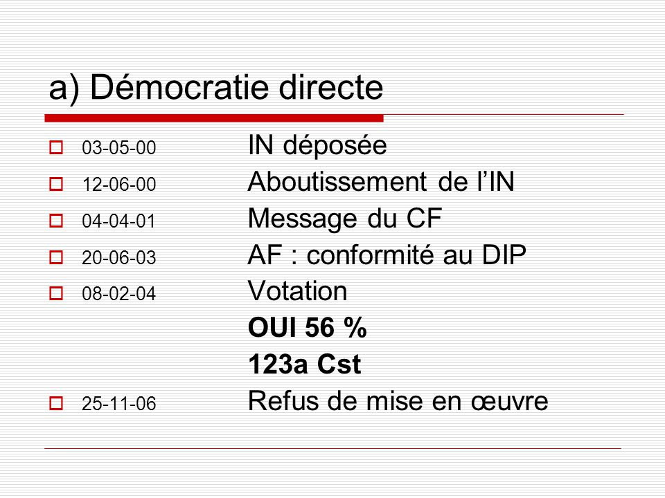 a) Démocratie directe 03-05-00 IN déposée 12-06-00 Aboutissement de lIN 04-04-01 Message du CF 20-06-03 AF : conformité au DIP 08-02-04 Votation OUI 56 % 123a Cst 25-11-06 Refus de mise en œuvre