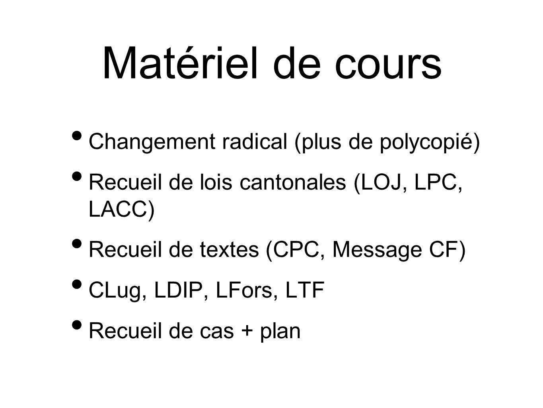 Matériel de cours Changement radical (plus de polycopié) Recueil de lois cantonales (LOJ, LPC, LACC) Recueil de textes (CPC, Message CF) CLug, LDIP, L