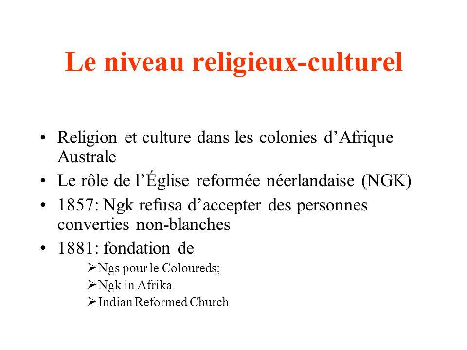 Le niveau religieux-culturel Religion et culture dans les colonies dAfrique Australe Le rôle de lÉglise reformée néerlandaise (NGK) 1857: Ngk refusa d