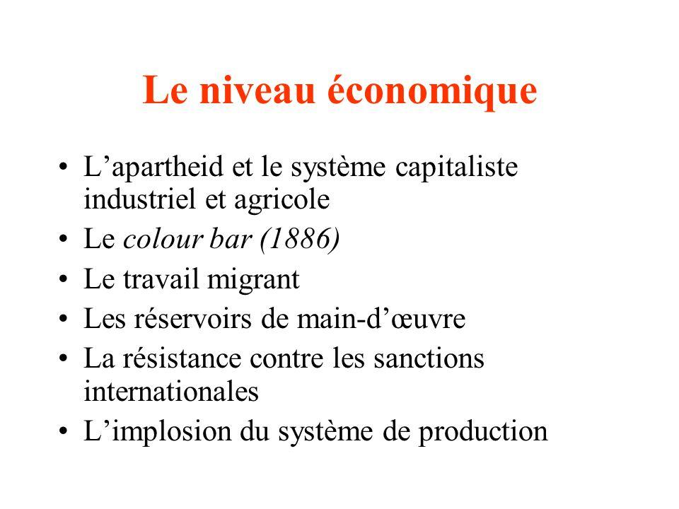 Le niveau économique Lapartheid et le système capitaliste industriel et agricole Le colour bar (1886) Le travail migrant Les réservoirs de main-dœuvre