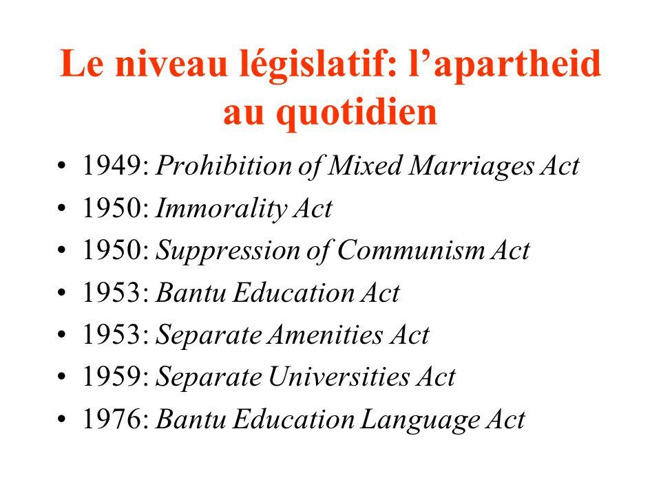 Le niveau législatif: lapartheid au quotidien 1949: Prohibition of Mixed Marriages Act 1950: Immorality Act 1950: Suppression of Communism Act 1953: Bantu Education Act 1953: Separate Amenities Act 1959: Separate Universities Act 1976: Bantu Education Language Act