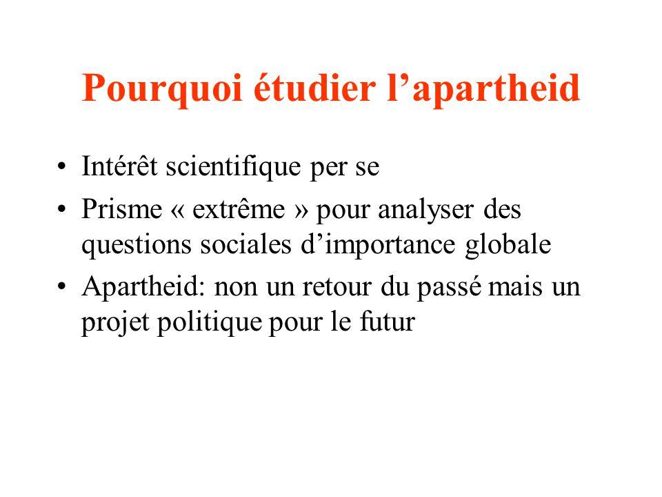 Pourquoi étudier lapartheid Intérêt scientifique per se Prisme « extrême » pour analyser des questions sociales dimportance globale Apartheid: non un retour du passé mais un projet politique pour le futur