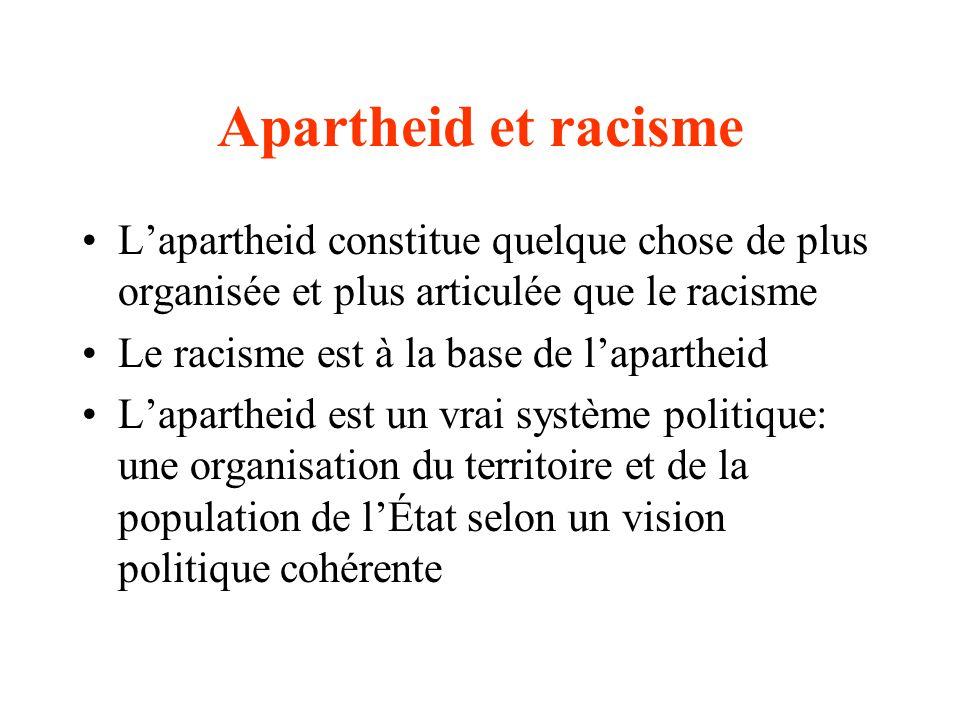 Apartheid et racisme Lapartheid constitue quelque chose de plus organisée et plus articulée que le racisme Le racisme est à la base de lapartheid Lapartheid est un vrai système politique: une organisation du territoire et de la population de lÉtat selon un vision politique cohérente