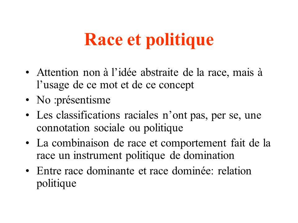 La race: un instrument de la politique Construire les races odéfinition de lappartenance raciale odivision de la population Construire les comportements propres à chaque race Définir des rapports politiques: supériorité/infériorité