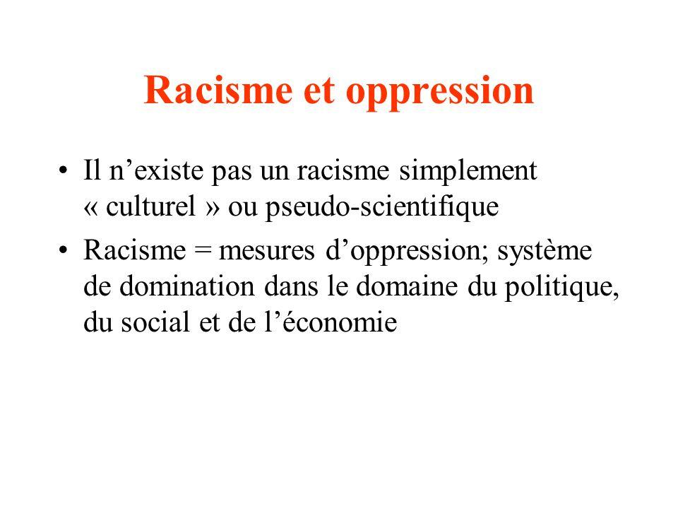Racisme et oppression Il nexiste pas un racisme simplement « culturel » ou pseudo-scientifique Racisme = mesures doppression; système de domination dans le domaine du politique, du social et de léconomie