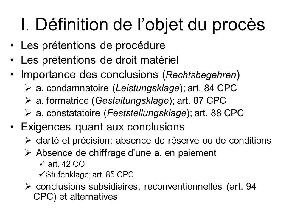 I. Définition de lobjet du procès Les prétentions de procédure Les prétentions de droit matériel Importance des conclusions ( Rechtsbegehren ) a. cond