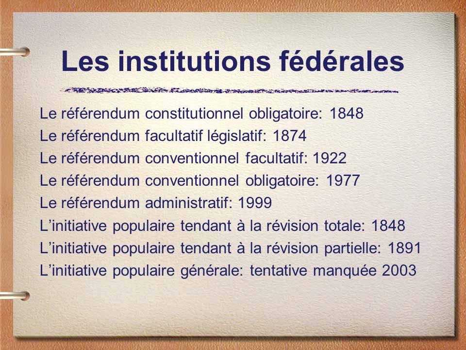 Le référendum constitutionnel obligatoire: 1848 Le référendum facultatif législatif: 1874 Le référendum conventionnel facultatif: 1922 Le référendum c