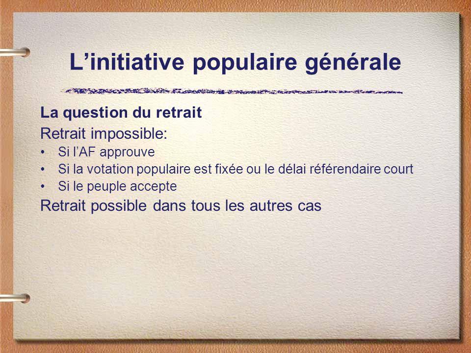 Linitiative populaire générale La question du retrait Retrait impossible: Si lAF approuve Si la votation populaire est fixée ou le délai référendaire