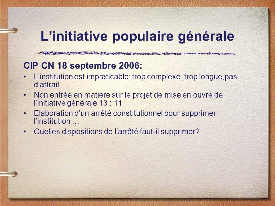 Linitiative populaire générale CIP CN 18 septembre 2006: Linstitution est impraticable: trop complexe, trop longue,pas dattrait Non entrée en matière
