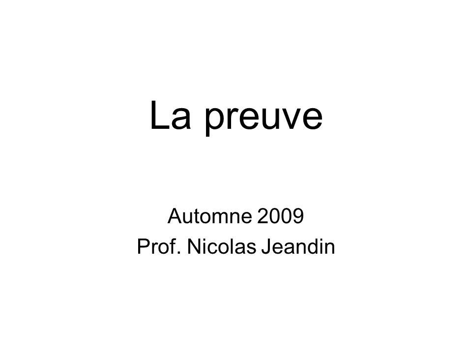 Plan I.Introduction II.Fardeau de la preuve III.Apport et appréciation des preuves IV.Procédure probatoire