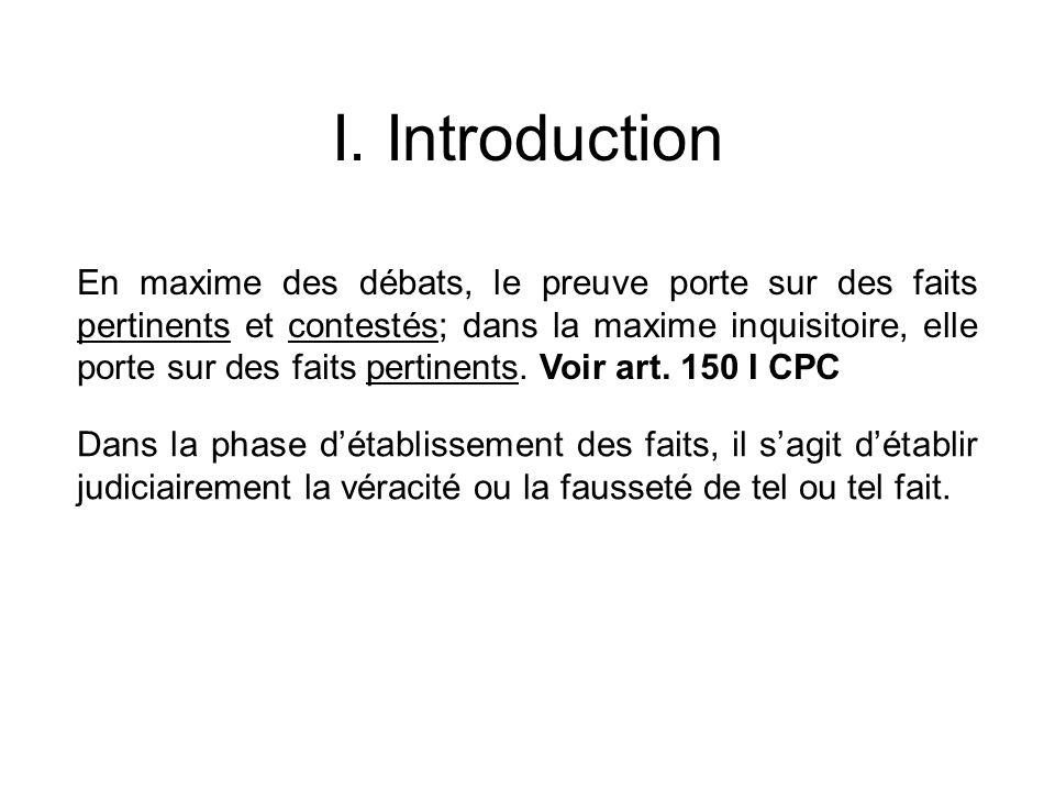 I. Introduction En maxime des débats, le preuve porte sur des faits pertinents et contestés; dans la maxime inquisitoire, elle porte sur des faits per