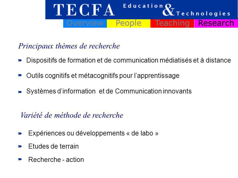 ResearchOverviewPeopleTeaching Dispositifs de formation et de communication médiatisés et à distance Outils cognitifs et métacognitifs pour lapprentis